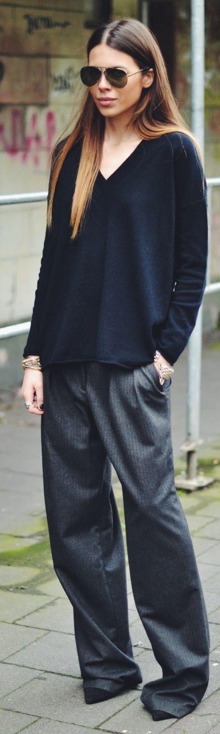 Zara Wide Legs Pinstriped Pants