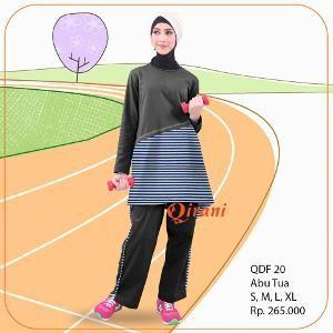 Baju OLAHRAGA Sport Qirani Fresh Model QDF-20 Abu Tua