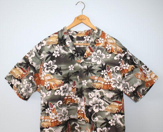 Vintage men's Hawaiian shirt . hot rod woodie by FoxyBritVintage