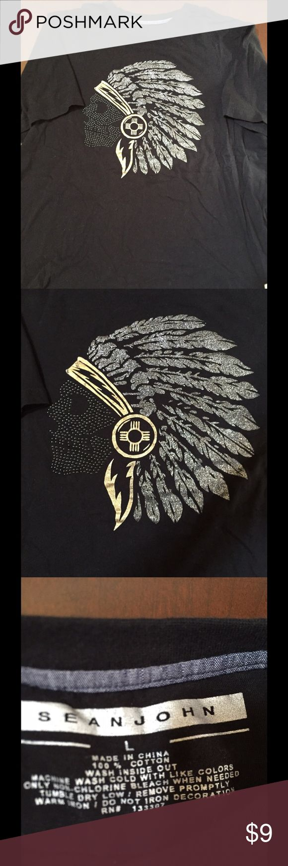 👕👕👕Black Sean John TShirt👕👕👕 This is also my sons. It's a nice TShirt with a large beaded Indians head. It really doesn't have any visible flaws. It's washed and ready to go. Sean John Shirts Tees - Short Sleeve