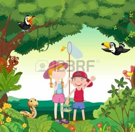 illustration av djur, fåglar och ungar i en vacker natur photo