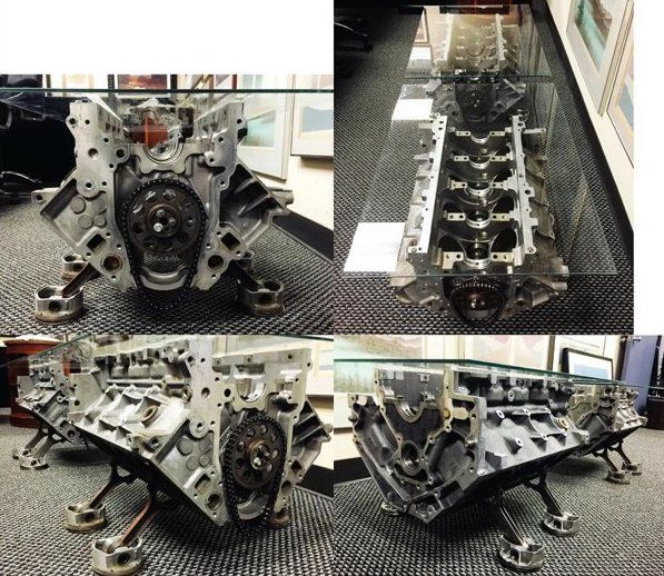 Custom made V8 MOTOR CAR ENGINE coffee/side table —
