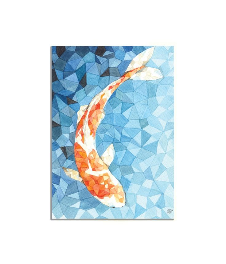 Kalatirth art print geometric koi fish 5 x 7 inches blue for Blue and orange koi fish