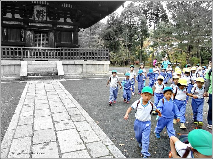 Looking Through the Chu-mon Gate at Ninna-Ji temple in Kyoto revealed this business like group of pre-schoolers on a mission.