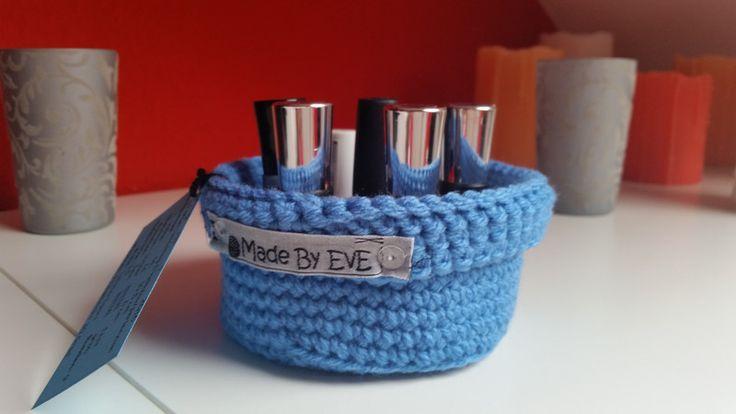 Körbe - Körbchen mit Umschlag S gehäkelt hellblau 9,5 cm - ein Designerstück von EvE-Paris bei DaWanda