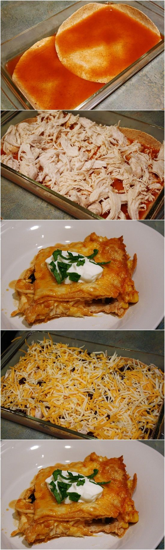 Skinny Chicken Enchilada Casserole - RP by greatrecipestoshare.com
