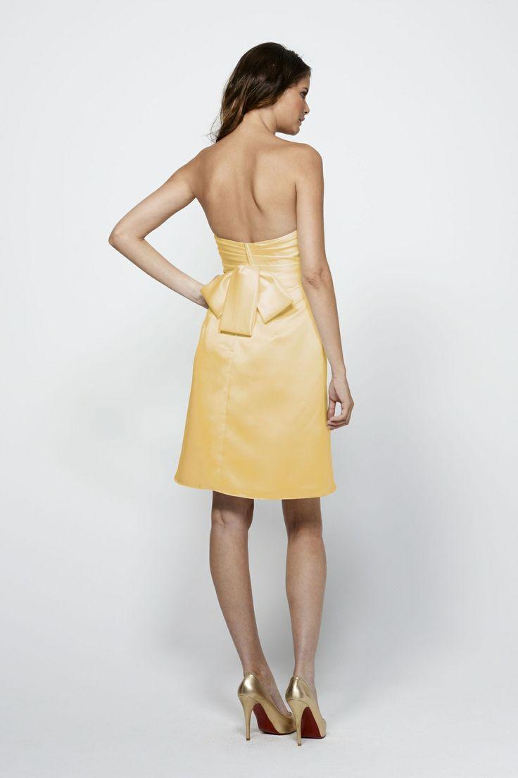Strapless satin above knee length dress