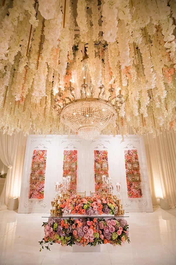Hanging Wisteria - Wedding Reception   Unbelievable Outdoor Luxury Wedding in California