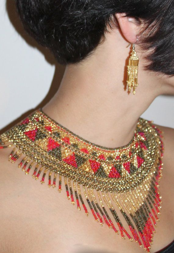 Ethnic Handbeaded Statement Necklace  Black by TravelingGypsyArt, $80.00