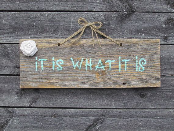 Rustic wood sign, It Is What It Is, Small hanging sign with teal font and a white burlap flower, Wall Collage Piece, Gifts on Etsy