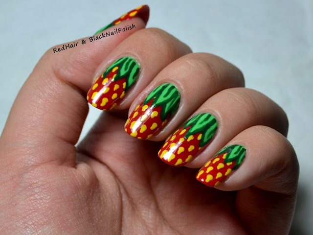 Red Hair and Black Nail Polish: Summer Challenge: Fruits: Nails Art, Gorgeous Manicures Nails, Red Hair, Summer Challenges, Black Nails Polish, Nails Design, Fun Nails, Fruit Theme, Strawberries Nails