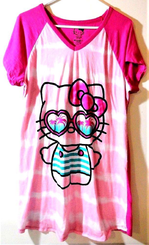 7120a7432 Hello Kitty Women's Size L-XL (14-16) Nightgown Sleep Shirt #Sanrio # Sleepshirt #Sleepwear