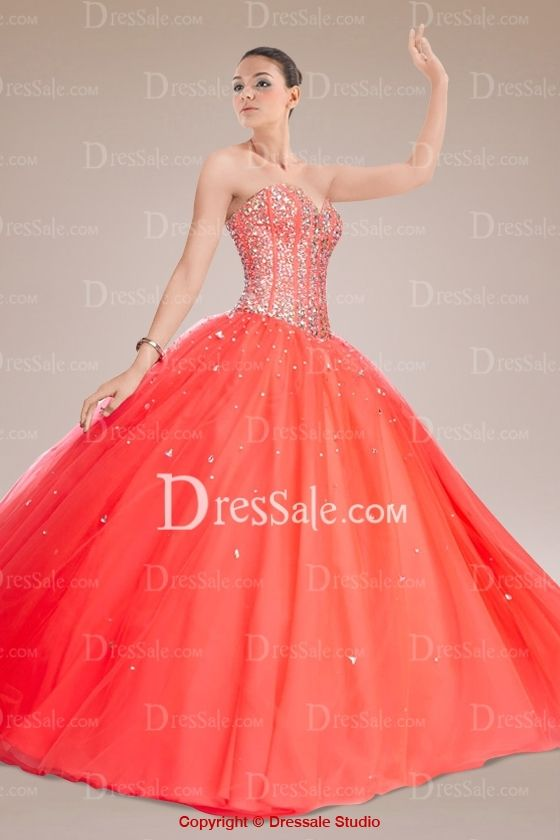 Eye-catching Orange Tulle Quinceanera Gown Adorned with Lavish Sparkling Crystals