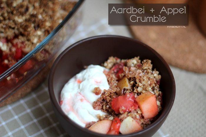 Recept: Aardbei Appel Crumble (suikervrij, glutenvrij)