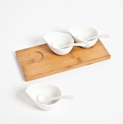 Porcelain N Bamboo 3 Bowl Serving Set - The Modern Bakeware Shop// $8.49