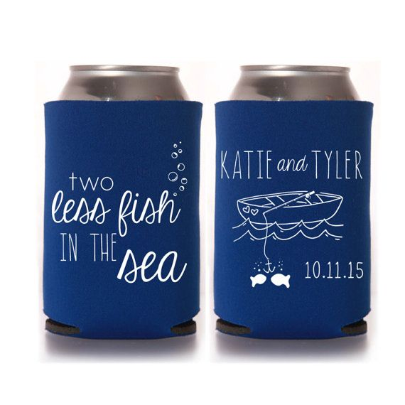 Personalized Wedding Koozies - 2 Two Less Fish in the Sea, Bridal Event Favors, Custom Can Cooler Coozies