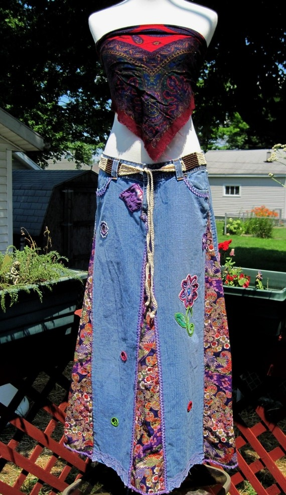upcycled jeans to a skirt