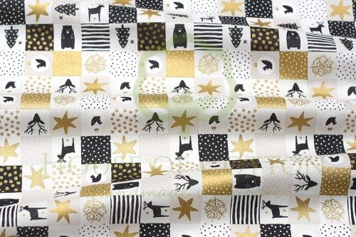 Bawełna złoty patchwork / B&W + gold X-mas patchwork with deers, bears, squirrels, Christmas trees, stars, stripes and dots cotton fabric