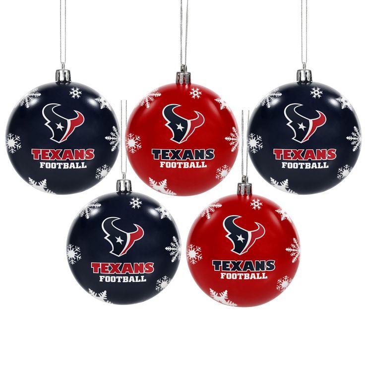 NFL Houston Texans Shatterproof Ball Ornaments 5pk