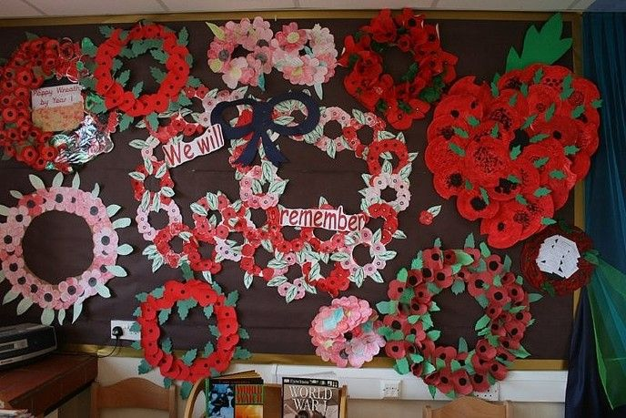 Remembrance Day wreathes.