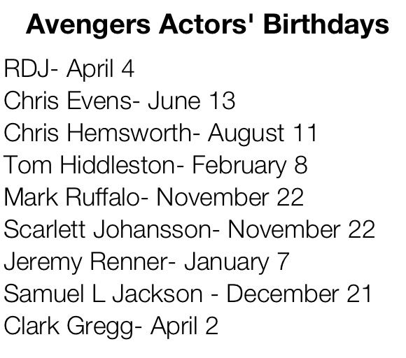 For the Avengers Birthday Scenario :) Jeremy renner has the same Bday as My brother