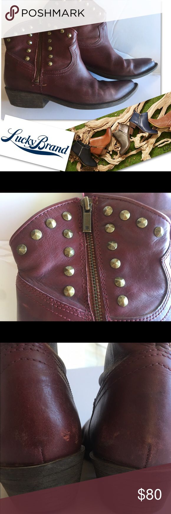 LUCKY BRAND BROWN STUDDED SHOES ANKLE BOOTS SZ 7.5 LUCKY BRAND  BROWN STUDDED SHOES ANKLE BOOTS SZ 7.5 RETAILS $139 Lucky Brand Shoes Ankle Boots & Booties