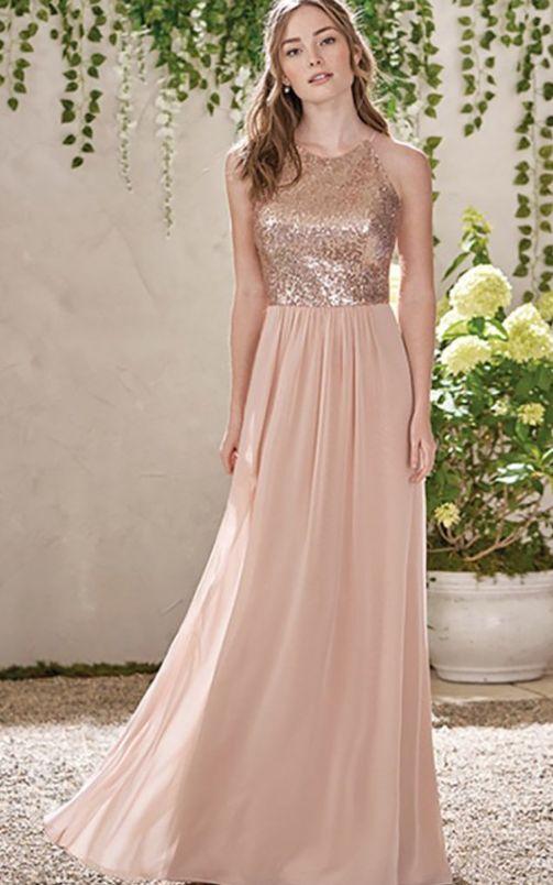 Vestido de festa de casamento da dama de honra rosa até o chão com lantejoulas   – ♡Weddings♡ Dresses