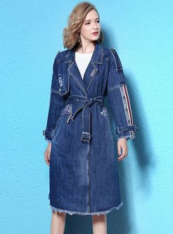 Street Latter Pattern Notched Collar Trench Coat