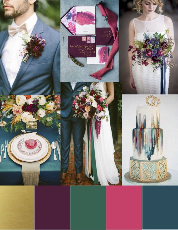 Jewel toned color palette.  Fall wedding color palette,  Wedding colors.  Inspiration board
