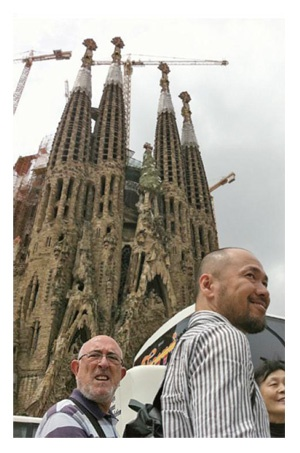 Inoue Takehiko san in front of Sagrada Familia, Barcelona