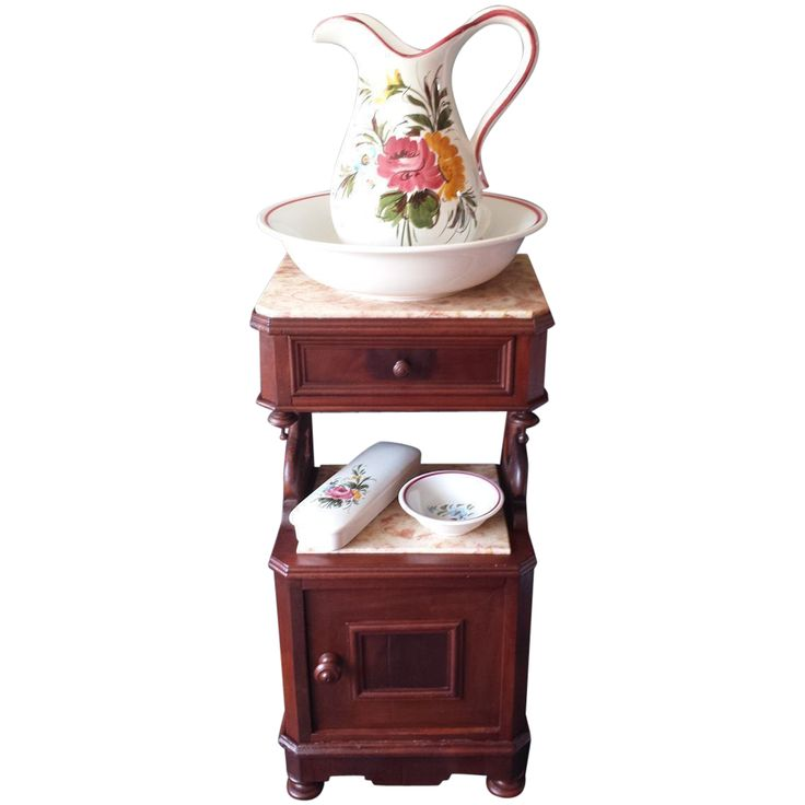 Antique French nightstand with carved swans and marble tops