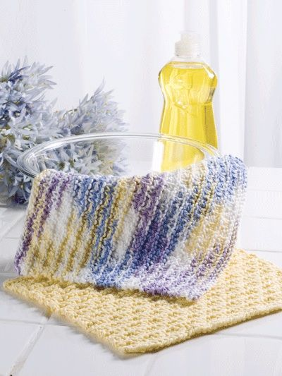 Knitted Dishcloth Patterns For Variegated Yarn : Checkered Stripes Dishcloth -Easy to knit dishcloth in worsted weight cotton ...