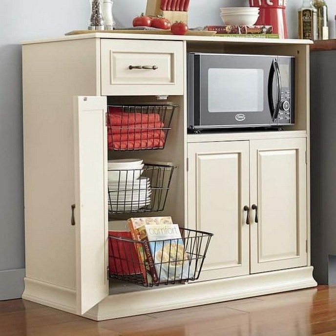 40 Small Kitchen Storage Ideas For A More Efficient Space 12 Glebemines Com Microwave Cabinet Kitchen Furniture Storage Small Kitchen Storage