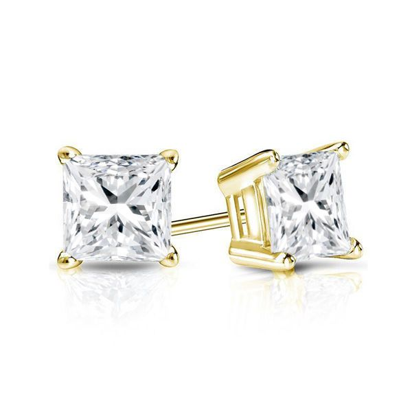 1CT Princess Stud Diamond Earrings Authentic 14K Solid Yellow Gold ScrewBack NEW