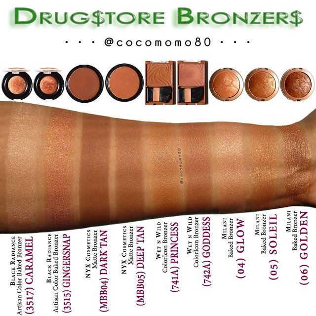 My Collection Mona (@cocomomo80) • Drugstore Bronzers • Swatches of various drugstore bronzers (on dark skin) • Check out my previous posts on Pinterest (Makeup-aholic: A Beautiful Addiction) and/or Instagram (cocomomo80) page for individual swatches.