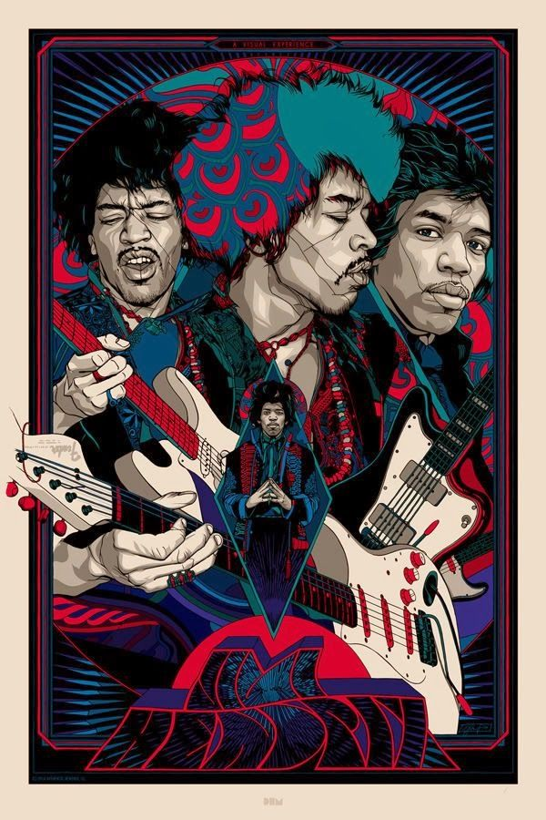 Tyler stout jimi hendrix poster from dark hall mansion release details