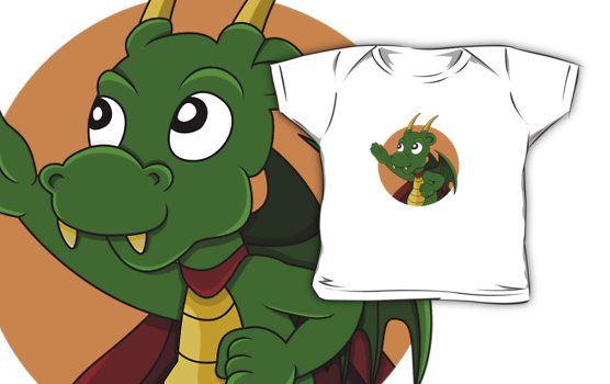 Cute green dragon superhero cartoon by Radka Kavalcova