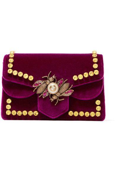 Gucci | Broadway embellished velvet shoulder bag | NET-A-PORTER.COM