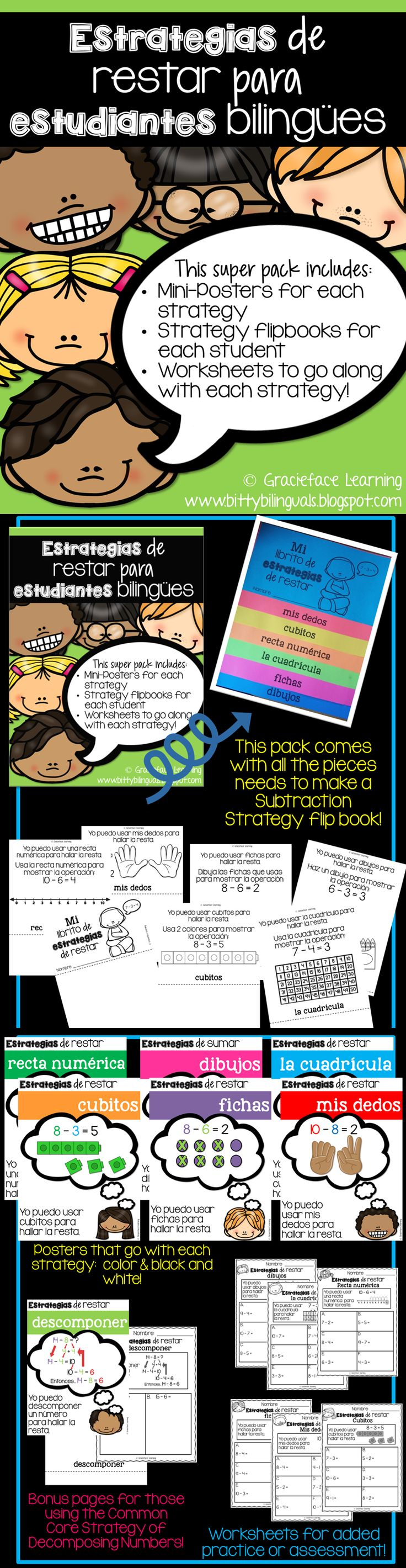 Estrategias para restar - Subtraction Strategies for bilingual students - Spanish! Includes color and black-n-white posters for each strategy, a student flipbook, and worksheets to use as homework or assessment!