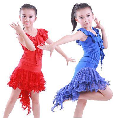 Childrens Latin Salsa Ballroom Dance Dress Girls Dancewear costumes #JR003