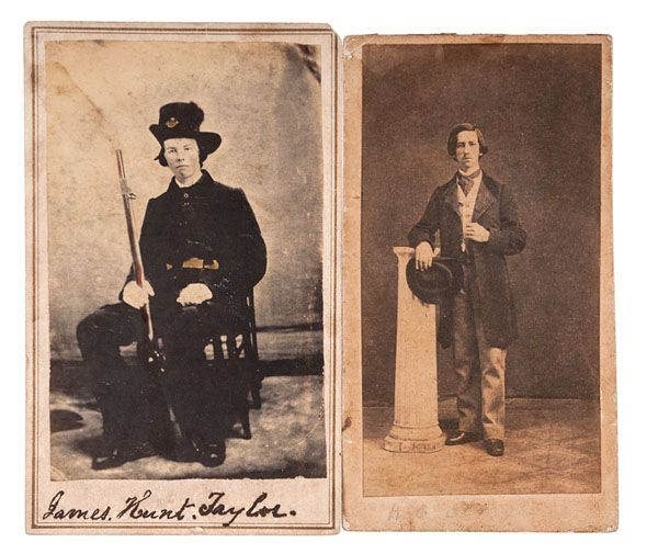 CSA Color Bearer, James Hunt Taylor, 1st South Carolina Infantry, KIA Gaines' Mill, Two CDVs, One Autographed, Plus Calling Card & Death Letter (6/13/2014 - American History: Live Salesroom Auction)