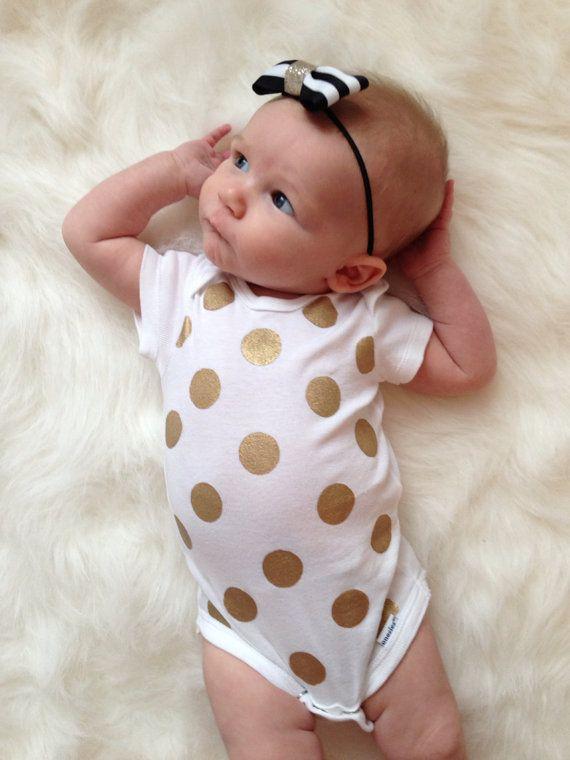 Metallic Gold Polka Dot OnePiece // Bodysuit by LoveliestLittles, $16.00 #baby #clothing