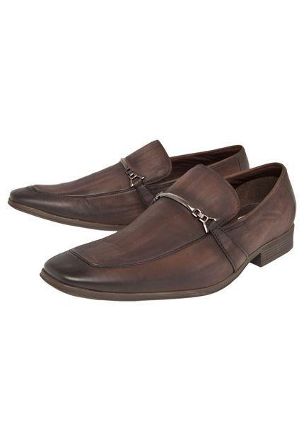 Sapato Social Ferracini Bico Quadrado Marrom - Marca Ferracini