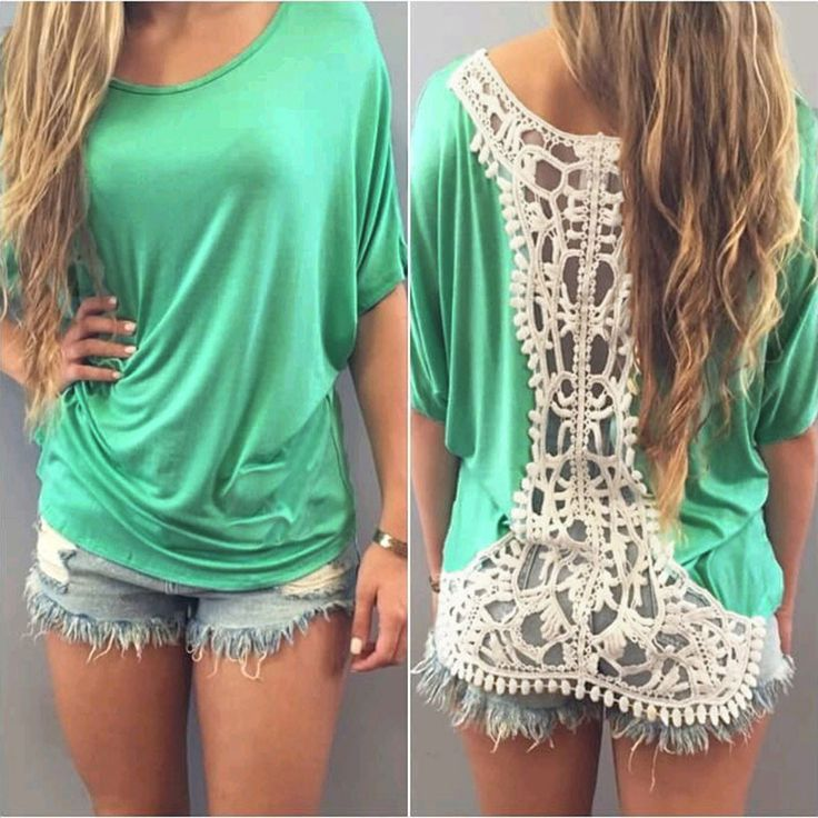 Sexy Backless Lace Crochet Short Sleeve Tops