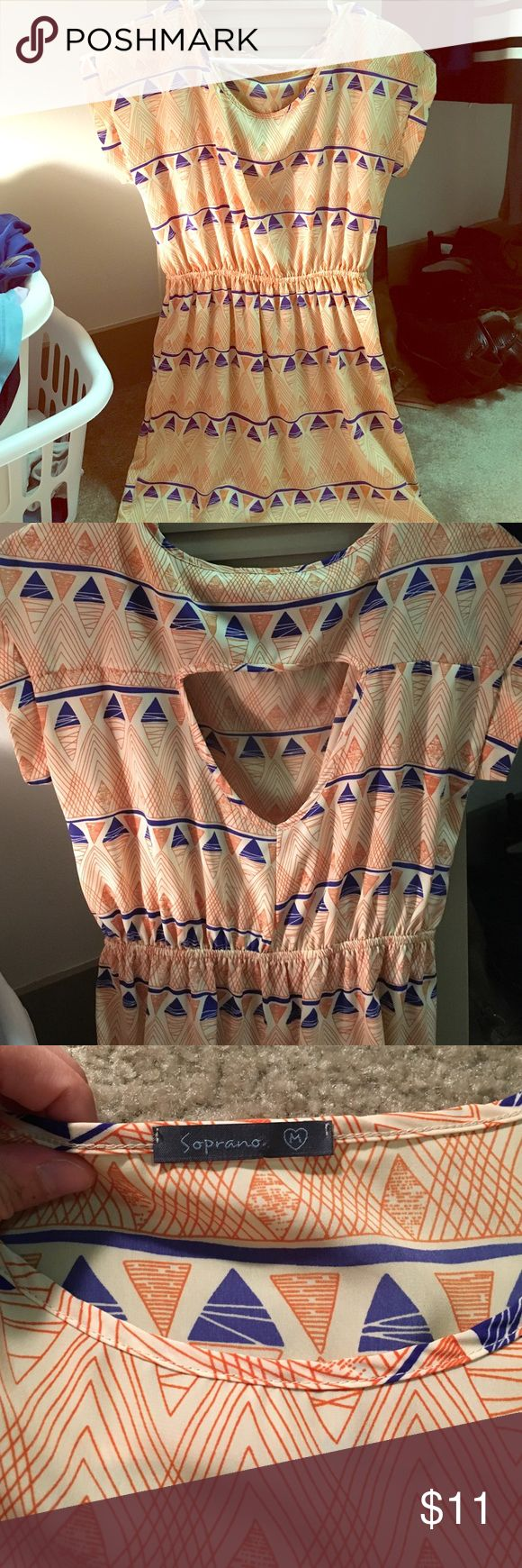 Closet triangle cut out back dress - Triangle Pattern Tri Color Dress Triangle Patterns With Orange Royal Blue And Beige