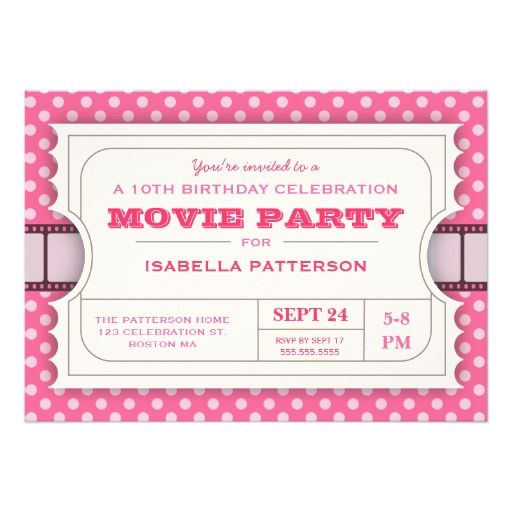 396 best Pink Birthday Party Invitations images on Pinterest - movie ticket invitations template