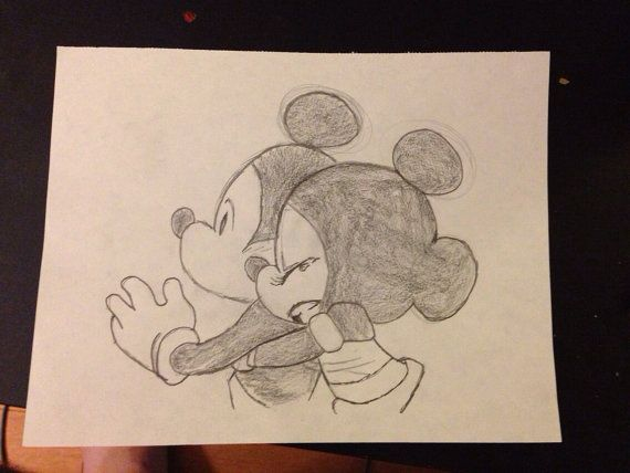 Mickey and Minnie Drawing | The Disney Couple on Etsy ...