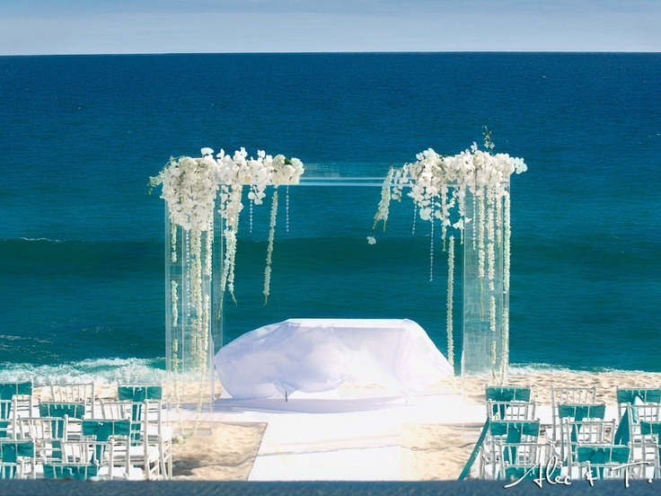 Lucite Ceremony Structure With Draping White Phalaenopsis Orchids Beach Wedding Decor