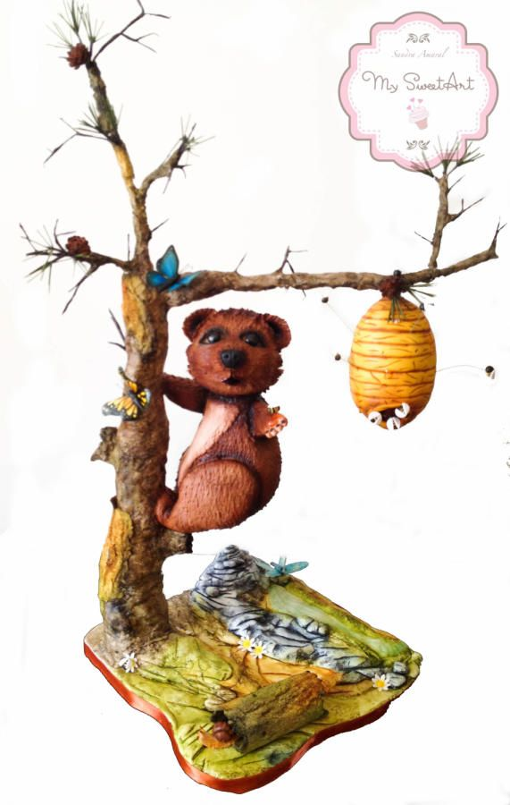 Sweet Nature Cake by My Sweet Art  both the bear and bee hive are cake