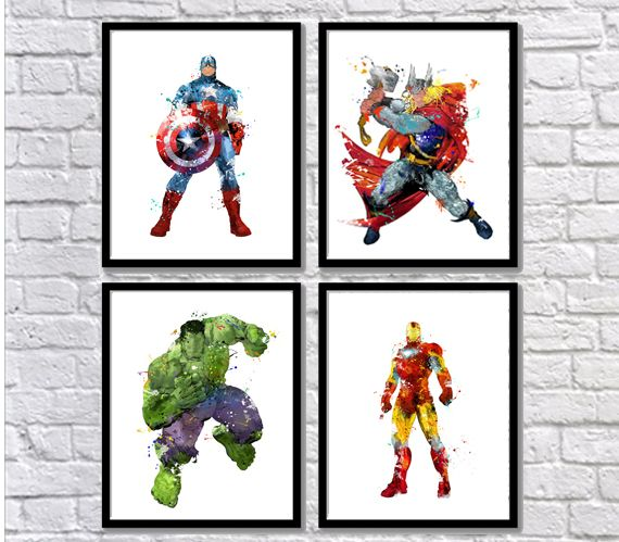 captain america thor marvel nursery wall art set 3 hero iron man Superhero prints for baby room decor superhero poster for nursery